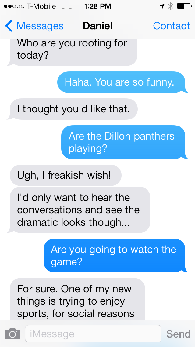 Daniel and Eli Text about the Super Bowl